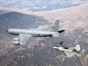 F-22 Raptor Receives Fuel from a KC-135 Stratotanker by Stocktrek Images