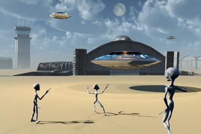 Grey Aliens and their Flying Saucers at Area 51 by Stocktrek Images