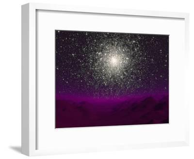 Illustration of a Globular Cluster over the Terrain of a Barren Planet
