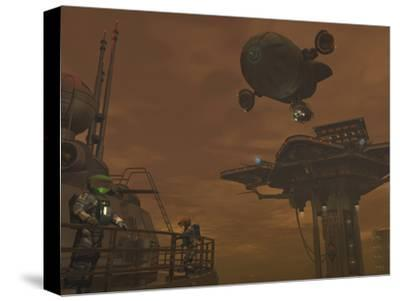 Illustration of a Spacecraft and Astronauts at a Mining Site on Saturn's Moon Titan