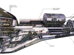 Illustration of An Orbiter Cutaway View of a Space Shuttle by Stocktrek Images