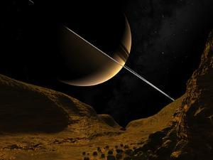 Illustration of Saturn from the Icy Surface of Enceladus by Stocktrek Images