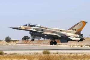 Israeli Air Force F-16I Sufa Landing at Hatzerim Airbase, Israel by Stocktrek Images