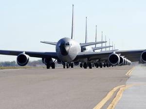 KC-135 Stratotankers in Elephant Walk Formation On the Runway by Stocktrek Images
