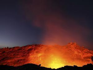 Lava Lake Illuminating Walls of Pit Crater at Night, Erta Ale Volcano, Danakil Depression, Ethiopia by Stocktrek Images