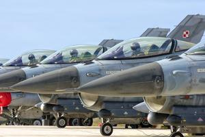 Line-Up of Hellenic Air Force F-16 Aircraft by Stocktrek Images