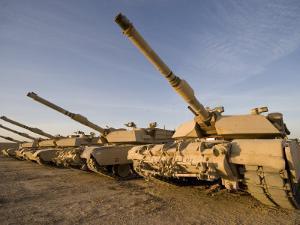 M1 Abrams Tanks at Camp Warhorse by Stocktrek Images