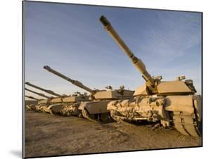 M1 Abrams Tanks at Camp Warhorse by Stocktrek Images