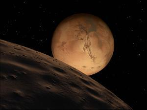 Mars Seen from its Outer Moon, Deimos by Stocktrek Images
