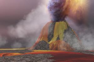 Molten Magma Flows from an Erupting Volcano by Stocktrek Images