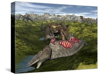 Nanotyrannus Eating the Carcass of a Dead Triceratops