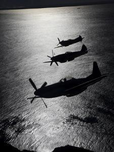 P-51 Cavalier Mustang with Supermarine Spitfire Fighter Warbirds by Stocktrek Images