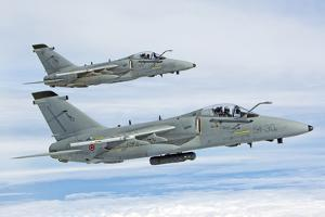Pair of Italian Air Force Amx-Acol Flying over Italy by Stocktrek Images