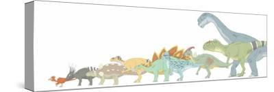 Pencil Drawing Illustrating Various Dinosaurs and their Comparative Sizes