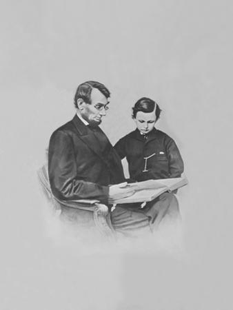 President Abraham Lincoln and His Son Tad Lincoln Looking at a Book by Stocktrek Images