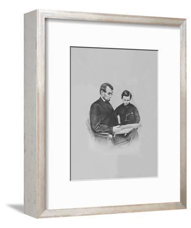 President Abraham Lincoln and His Son Tad Lincoln Looking at a Book