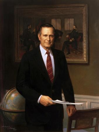 Presidential Portrait of President George H.W. Bush by Stocktrek Images