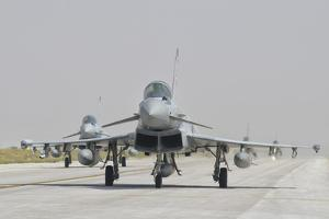 Royal Air Force Ef-2000 Typhoon Aircraft on the Flight Line by Stocktrek Images