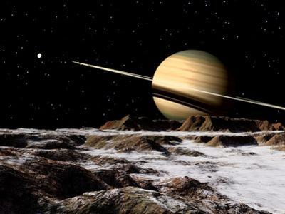 Saturn Seen from the Surface of its Moon, Rhea by Stocktrek Images