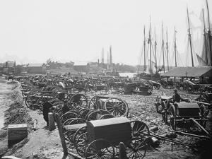 Seized Confederate Cannons and Caissons on the Wharf in Richmond, Virginia by Stocktrek Images