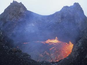 Small Lava Lake in Pit Crater, Pu'u O'o Cone, Kilauea Volcano, Big Island, Hawaii by Stocktrek Images