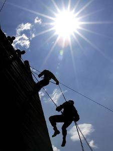 Soldiers Rappell from a 70-foot Tower by Stocktrek Images
