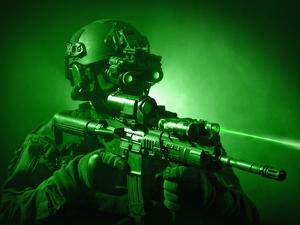 Special Operations Forces Soldier Equipped with Night Vision And An HK416 Assault Rifle by Stocktrek Images