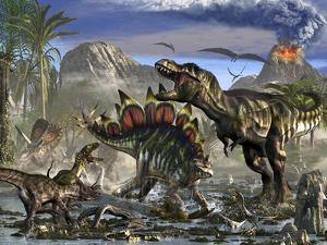 Stegosaurus Defending Himself from T-Rex and Some Utahraptors by Stocktrek Images