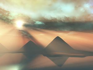 Sunrays Shine Down On Three Pyramids Along the Nile River On the Giza Plateau by Stocktrek Images