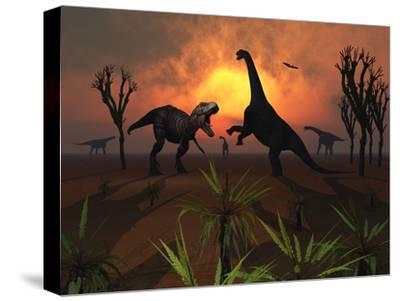 T. Rex Confronts a Group of Camarasaurus Dinosaurs