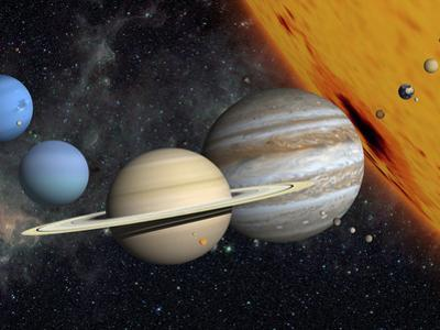 The Planets and Larger Moons to Scale with the Sun