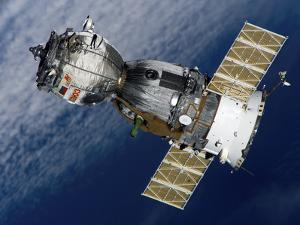 The Soyuz TMA-7 Spacecraft Departs from the International Space Station by Stocktrek Images