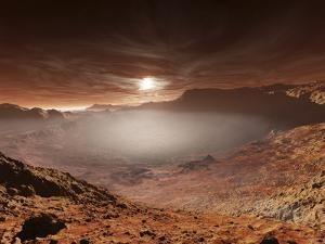 The Sun Sets over the Eberswalde Region of Mars by Stocktrek Images