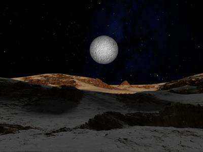 The Surface of Pluto with Charon in the Sky by Stocktrek Images