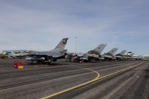 Turkish Air Force F-16 Jets on the Flight Line at Albaacete Air Base, Spain by Stocktrek Images