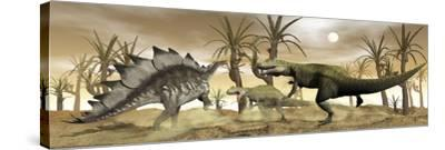 Two Allosaurus Dinosaurs Attack a Lone Stegosaurus in the Desert