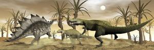 Two Allosaurus Dinosaurs Attack a Lone Stegosaurus in the Desert by Stocktrek Images