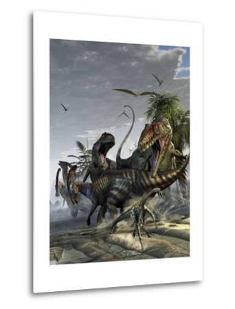 Two Giganotosaurus Trying to Capture a Parasaurolophus