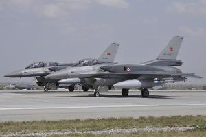 Two Turkish Air Force F-16C-D Block 52+ Aircraft Ready for Take-Off by Stocktrek Images