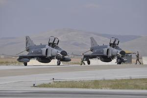 Two Turkish Air Force F-4E 2020 Terminator Aircraft Standby with Crew Chiefs by Stocktrek Images