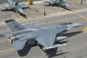 U.S. Air Force F-16 Fighting Falcon at Natal Air Force Base, Brazil by Stocktrek Images