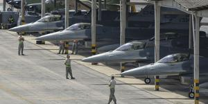 U.S. Air Force F-16 Fighting Falcons Parked at Natal Air Force Base, Brazil by Stocktrek Images