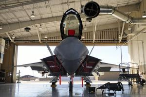 U.S. Air Force F-22A Raptor Parked in its Shelter at Holloman Air Force Base by Stocktrek Images