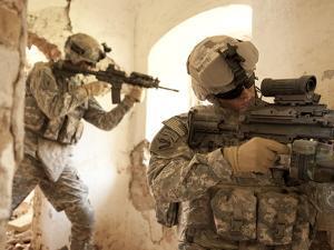 U.S. Army Rangers in Afghanistan Combat Scene by Stocktrek Images