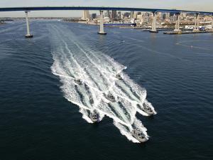 U.S. Navy Patrol Boats Conduct Operations Near the Coronado Bay Bridge in San Diego, California by Stocktrek Images