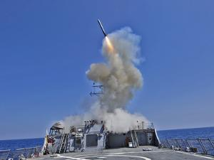 USS Barry Launches a Tomahawk Cruise Missile by Stocktrek Images