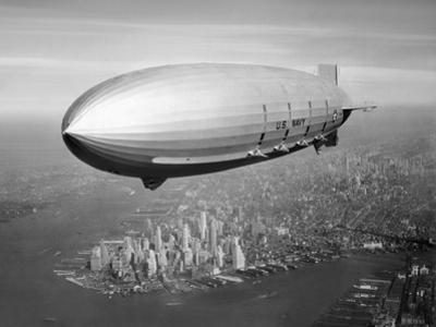 Uss Macon Airship Flying over New York City by Stocktrek Images