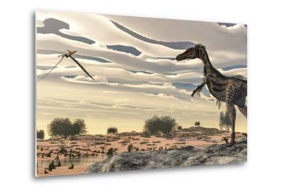 Velociraptor Dinosaur Observing a Pteranodon Flying over the Desert