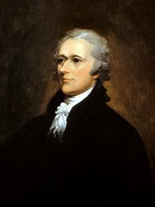 Vintage American History Painting of Founding Father Alexander Hamilton by Stocktrek Images