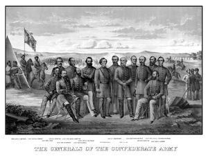 Vintage Civil War Print Featuring Sixteen of the Confederate Army's Top Generals by Stocktrek Images